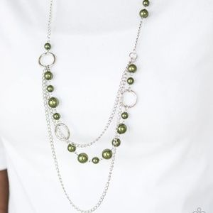 TripleLayer Silver Necklace with Olive Green Beads
